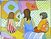 Jean Harney Acrylic on Canvas, Three Girls, Signed