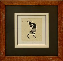 Kokopelli Ink on Paper by Quackenbush