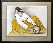 Native American Lithograph Signed R C Gorman, 1977