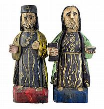 2 Carved & Painted Wooden Santos, Religious Figure