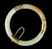 14k Tri-Color Jade Hinged Bangle