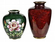 2 Foil Vases: 1 w Cloisonne Flower, 1 Pigeon Blood