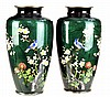 Pair of Green Foil Cloisonne Vases, Birds & Floral
