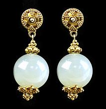 Pair of Plated Jade Ball Drop Earrings
