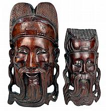 2 Carved Wood Asian Decorative Wall Plaques