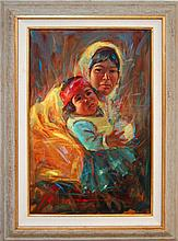 Native American Mother and Child Oil on Canvas