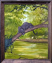Vintage Oil Painting, Panther by Juan R Parker
