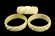 (3) Carved Ivory Bangle Bracelets