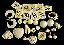 Lot of Carved Ivory: Pendants, Earrings, Etc...