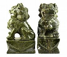 PAIR of Large Carved Soapstone Foo Dogs
