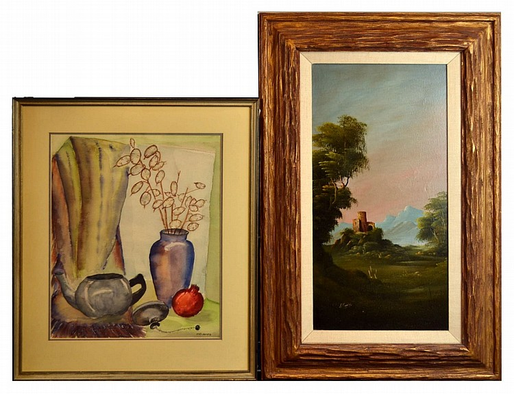 2 Paintings European Oil Canvas Castle, Still Life