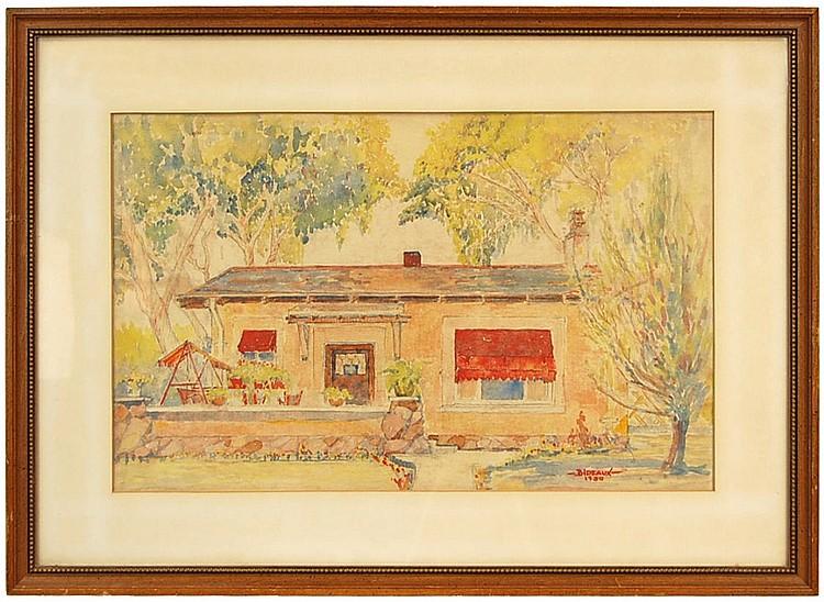 Gaston Bideaux (French, 1904-1936) Watercolor