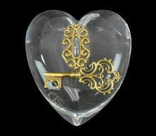 Steuben Crystal Heart & Key w/ Original Box