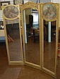 Antique 3 Panel Mirrored Screen 20th Century
