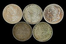 5 Circulated Morgan Silver Dollar #1