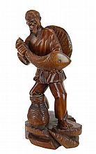 Carved Wood Asian Fish Merchant Sculpture