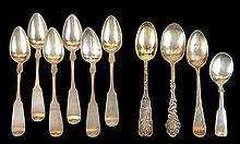 (6) Gorham 900 Silver Spoon Lot Samuel Jelly & (4) Sterling Silver Spoon