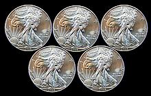5 Uncirculated 2014 Silver Eagle Dollar Lot