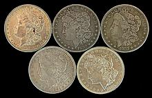 5 Circulated Morgan Silver Dollars