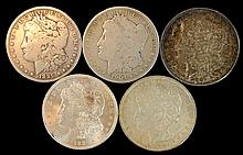 5 Circulated Morgan Silver Dollar Lot