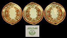 3 Pcs. Japanese Noritake Moriage Coaster Set