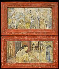 PAIR Vintage Oriental Painting on Tin