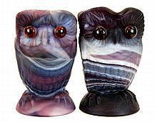 Imperial Slag Glass Owl Creamer & Sugar in Purple