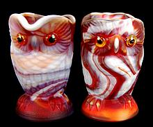 Imperial Slag Glass Owl Creamer & Sugar in Red