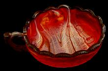 Imperial Slag Glass Handled Poppy Nappy in Red
