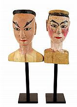 PAIR Vintage Mounted Marionette Head Lot #1