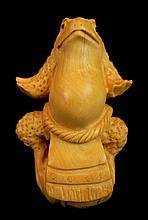 Japanese Tagua Nut Carved Toad Netsuke
