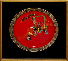 Chinese Framed Red Porcelain Charger