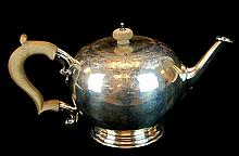 Crighton Bros. Sterling Silver Etched Teapot