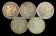 5 Circulated Morgan Silver Dollar Lot