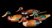 4 Pcs. Carved Wood Duck Decoy Lot #2