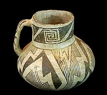 Anasazi Pottery Black-on-White Pottery Pitcher #3