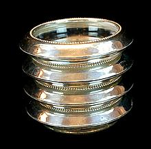Frank M Whiting Sterling Silver & Glass Coaster Set