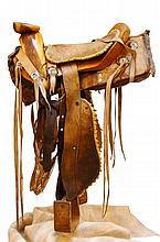 Antique Charro Saddle in Museum Display Case