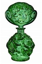 Czech Bohemian Malachite Glass Perfume