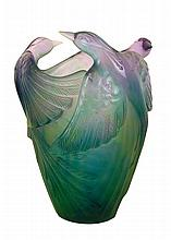 NIB Daum Bird Of Paradise Vase