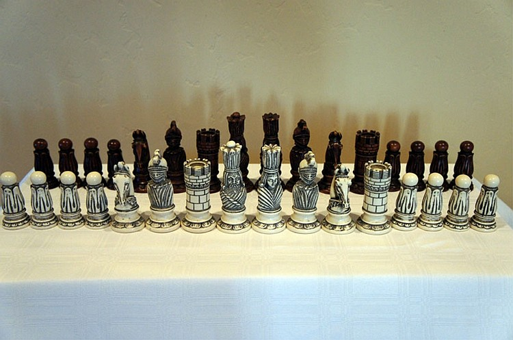 Chess Men Set in Alabaster