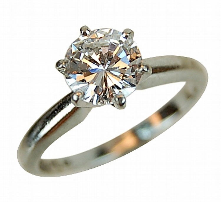 1 Ct Round Brilliant Diamond and Platinum Ring