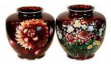Japanese Floral Sato Cloisonne Vase PAIR