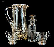 Hawkes Cut Glass Sterling Silver Oil/Vinegar Lot