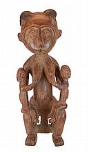 African Tribal Fertility Carved Wood Sculpture