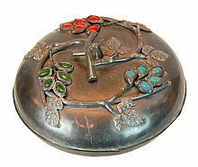 Chinese Pewter Jeweled Foliate Lidded Box