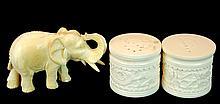 3 Pcs. Ivory Carved Elephant & Salt/Pepper Pair