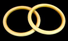 Old Pair Chinese Carved Ivory Bangle Bracelets