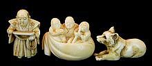 3 Pcs. Signed Japanese Carved Ivory Netsuke Lot