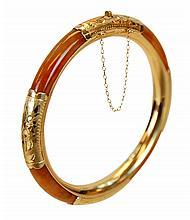 14K Gold Jade Hinged Bangle Bracelet